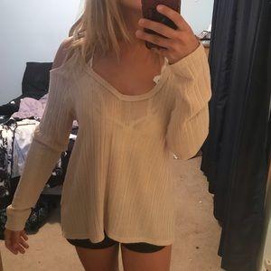 Light pink knitted no shoulder sweater